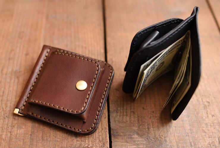 937b8c8a17db4f コンパクトに持ち歩く小銭入れつき本革マネークリップ「革鞄のHERZ ...