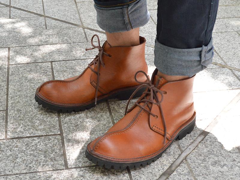 エイジングした久保靴