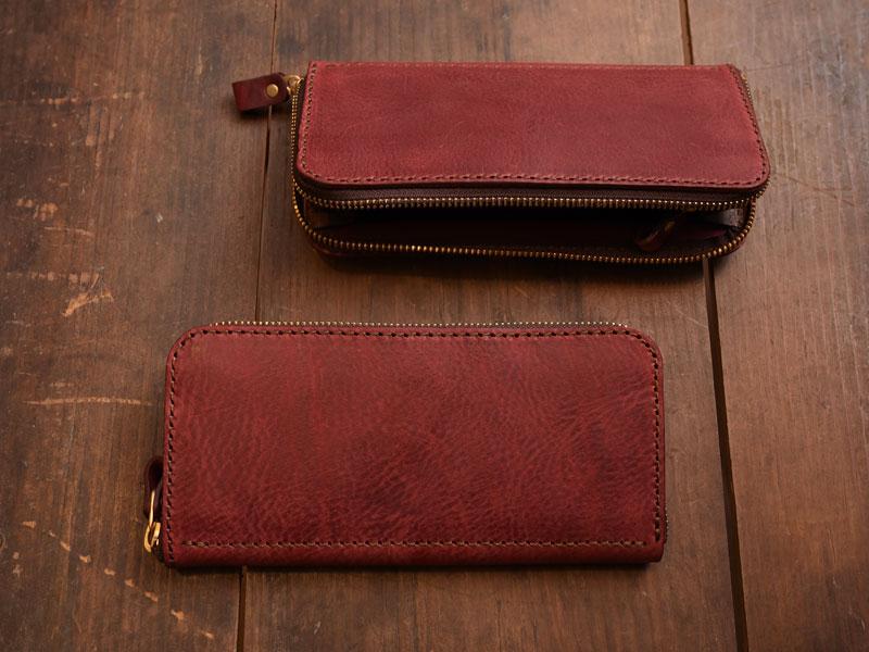 ワインレッドのファスナー長財布(WL-58)