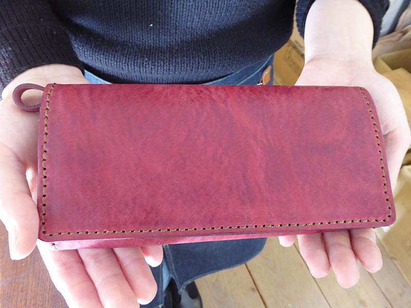 ソフトレザーの長財布(WL-63) ミッスーリ革 ワインレッド