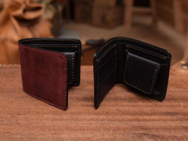 ワインレッドの二つ折り財布(WS-8)