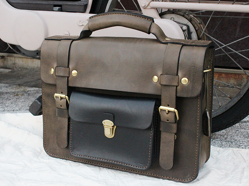 ダークグリーン 学生鞄風・2wayビジネスバッグ(BC-16)