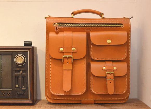 前面3ポケット標本3wayバッグ(A-19-R) 革色