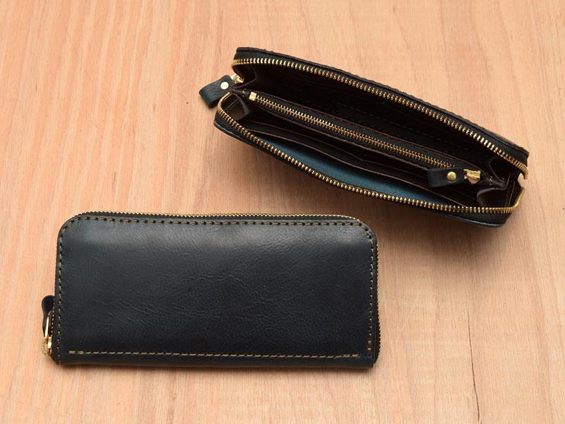 ネイビーのファスナー長財布(WL-58)