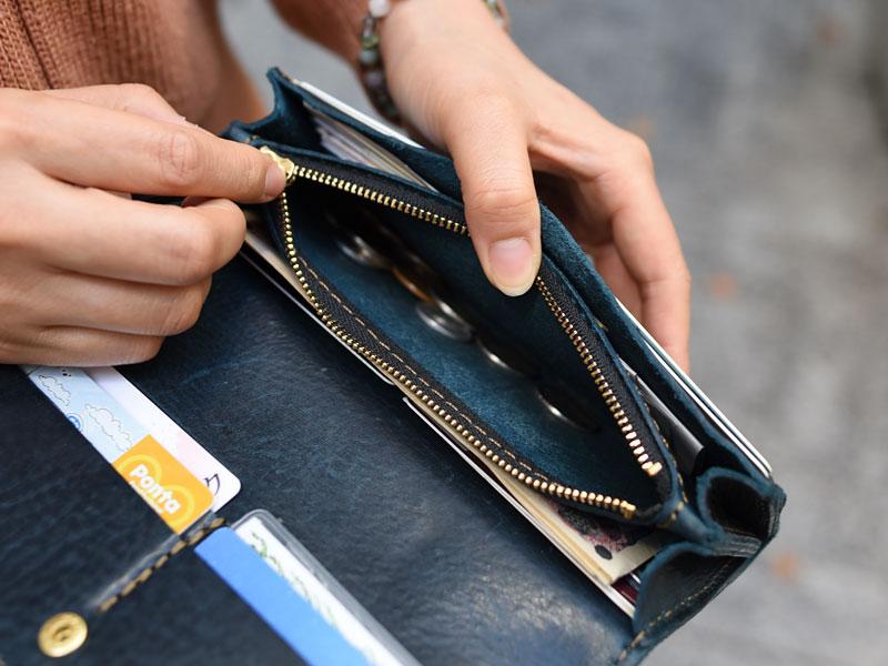 ミッスーリネイビーの長財布(WL-63) 小銭入れ