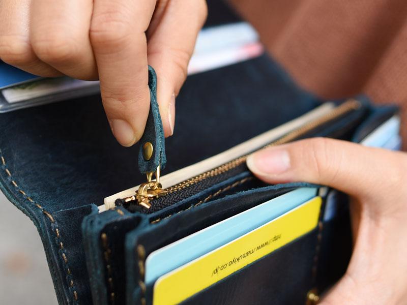 ミッスーリネイビーの長財布(WL-63) 引手