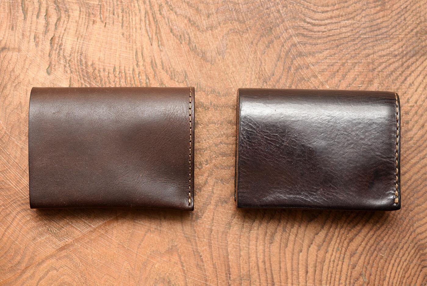小型のマチ付き二つ折り財布 エイジング比較