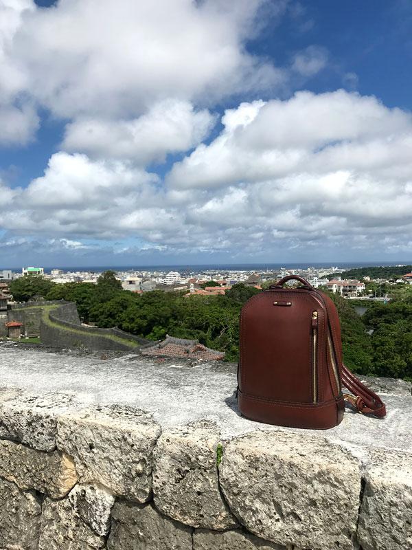 首里城の頂とビートルリュック