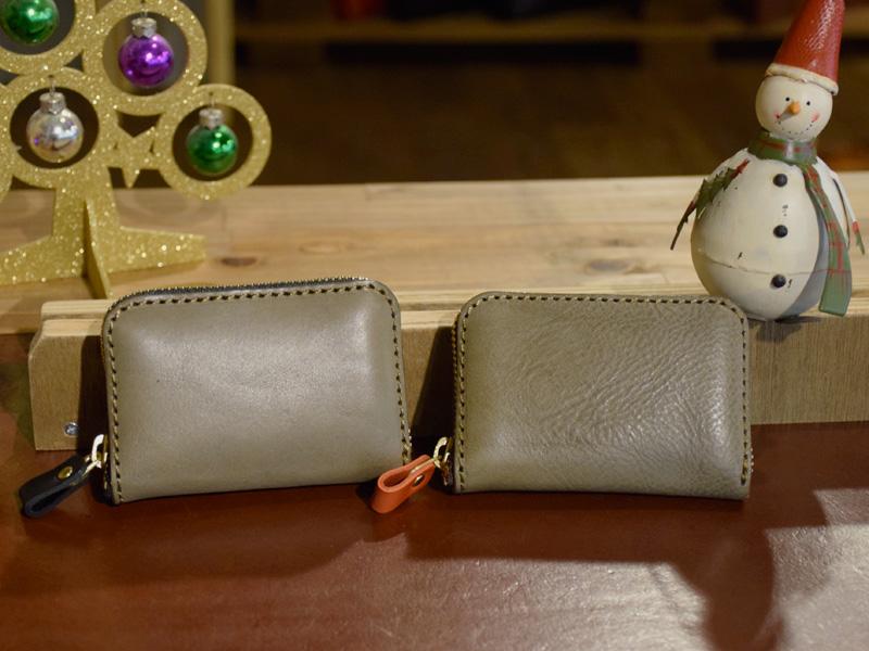 コンパクト財布(KK-59)グレー革