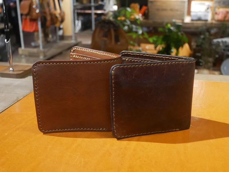 二つ折り財布(WS-8) チョコのエイジング1