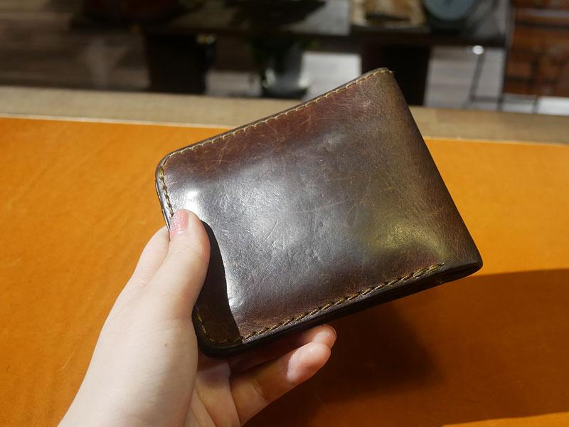 二つ折り財布(WS-8) チョコのエイジング4