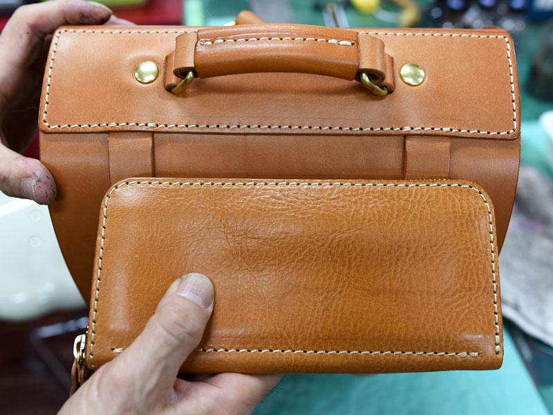 ファスナー長財布と鞄のステッチ比較