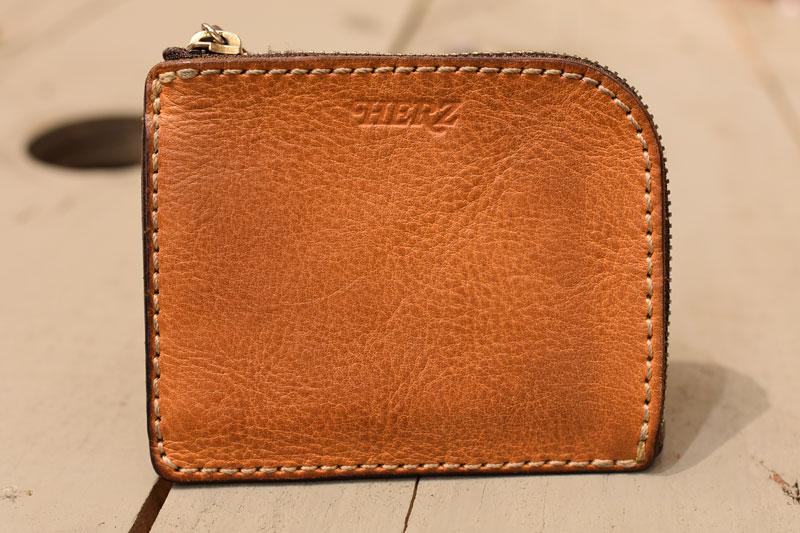 L字ファスナーミニ財布(KK-38) エイジングした革色キャメル