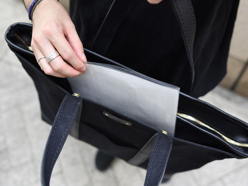 肩掛けキャンバストート(ND-TOTE1) ファスナー式のあおりポケット