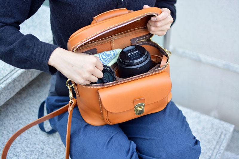ソフトタイプのカメラバッグ・ポケット付き(N-6) 使用例