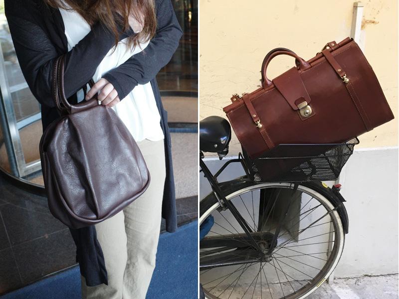 タックハンドバッグとクラシックトラベラーボストン
