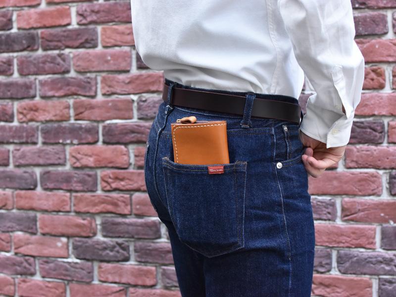 小銭が見やすい長財布(WL-1)ズボンのポケットへの収納例