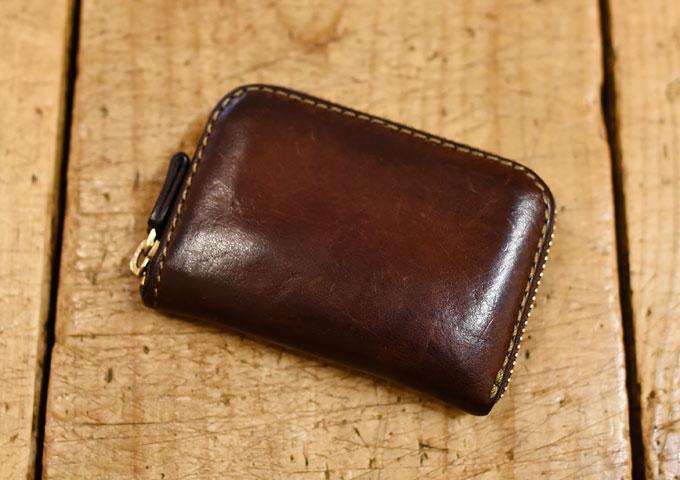コンパクト財布(KK-59) エイジングの革色チョコ