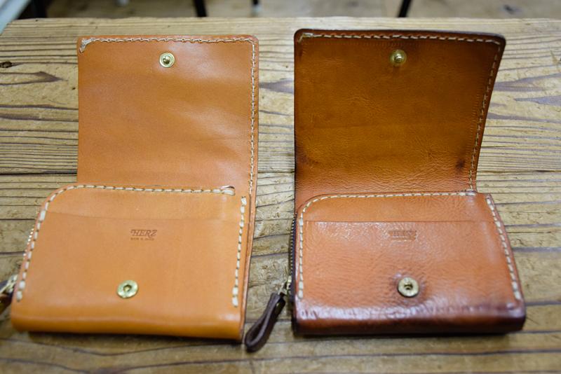 小型の二つ折り財布(WS-64) キャメルエイジング内側