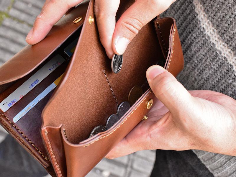 ダブルフラップ長財布(WL-2) 小銭取り出し