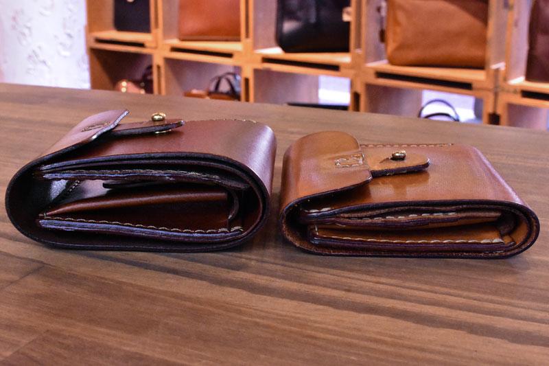 二つ折り財布・ギボシ留め(WS-57) エイジングの様子