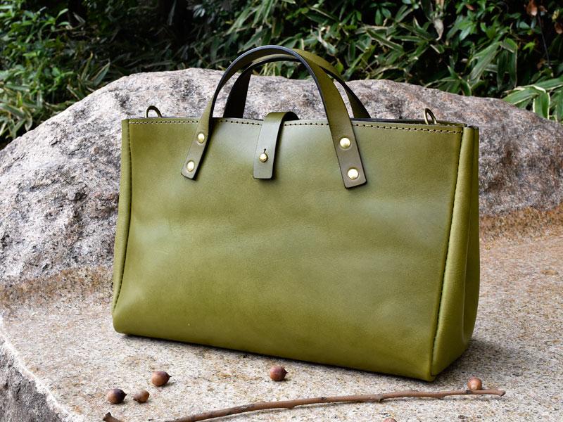 クローバートート 革色グリーン