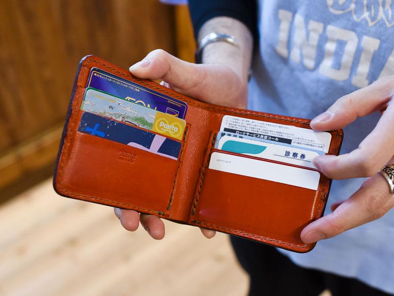 二つ折り財布(WS-3) カード収納例