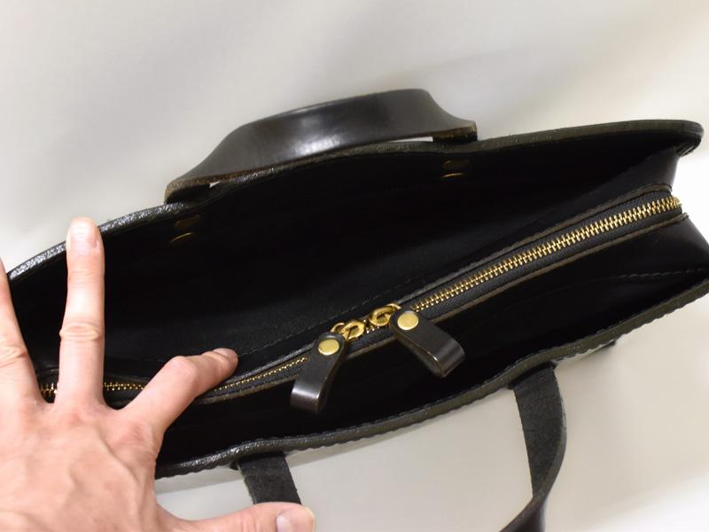 二本手ビジネスバッグ(BW-111)あおりポケットの様子