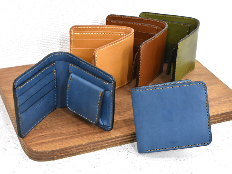 デニムブルー革の二つ折り財布(NSA-29)