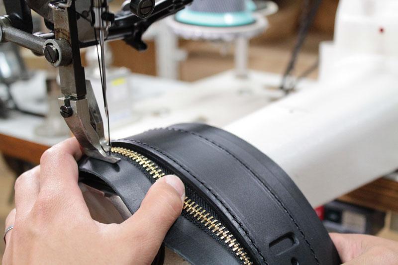 箱型鞄・2wayビジネスバッグ(BF-40) ファスナー部縫製