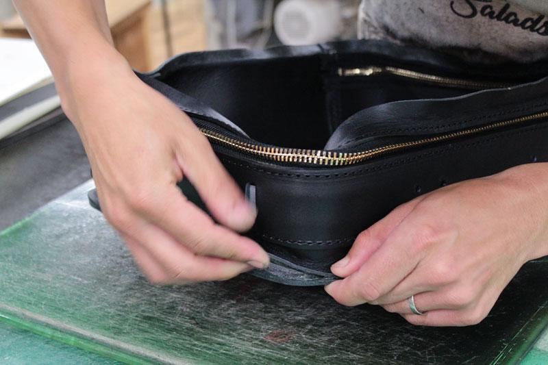 箱型鞄・2wayビジネスバッグ(BF-40) 角の貼り付け