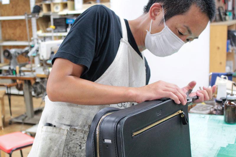箱型鞄・2wayビジネスバッグ(BF-40) 角の貼り付け2