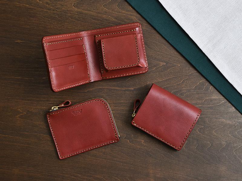 ボルドー特別仕様の二つ折り財布(NSA-35)、小型の二つ折り財布(NSA-36)、L字ファスナーミニ財布(NSA-32)