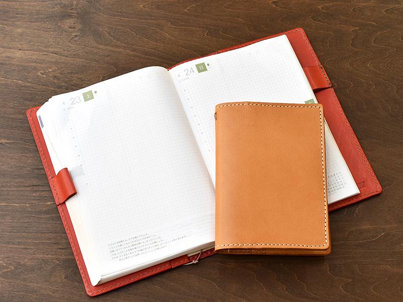 ほぼ日手帳カバー(KB-104)革色キャメルとレッド