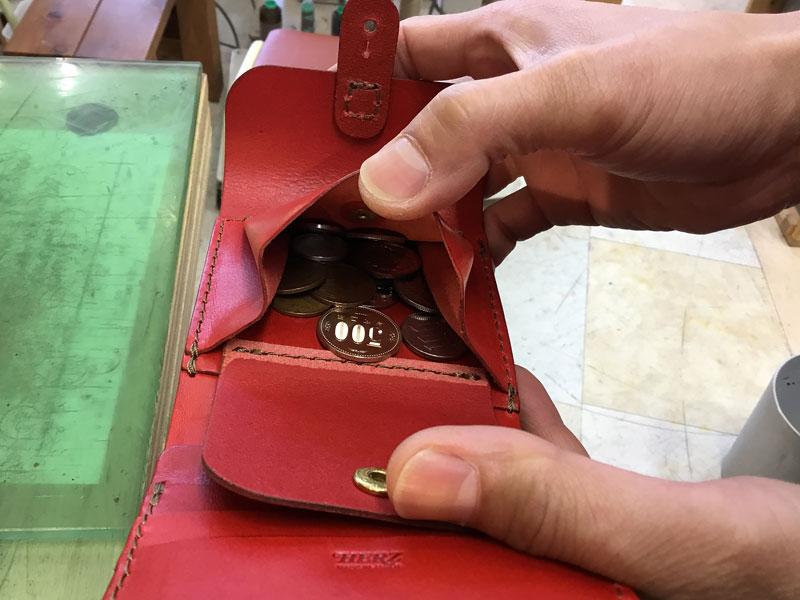 二つ折り財布・ギボシ留め(WS-57) 小銭収納