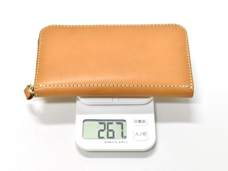 大きいファスナー長財布(WL-5)革色キャメルの重さ