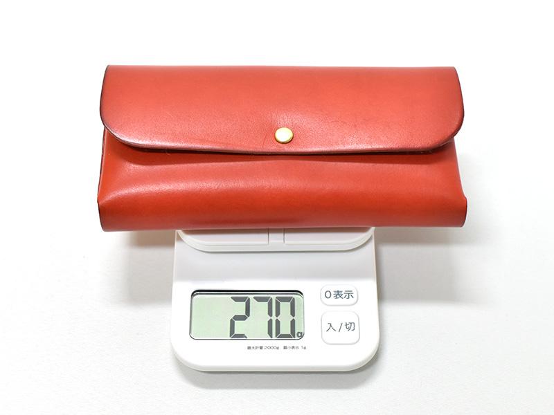 ダブルフラップ長財布(WL-2)革色レッドの重さ