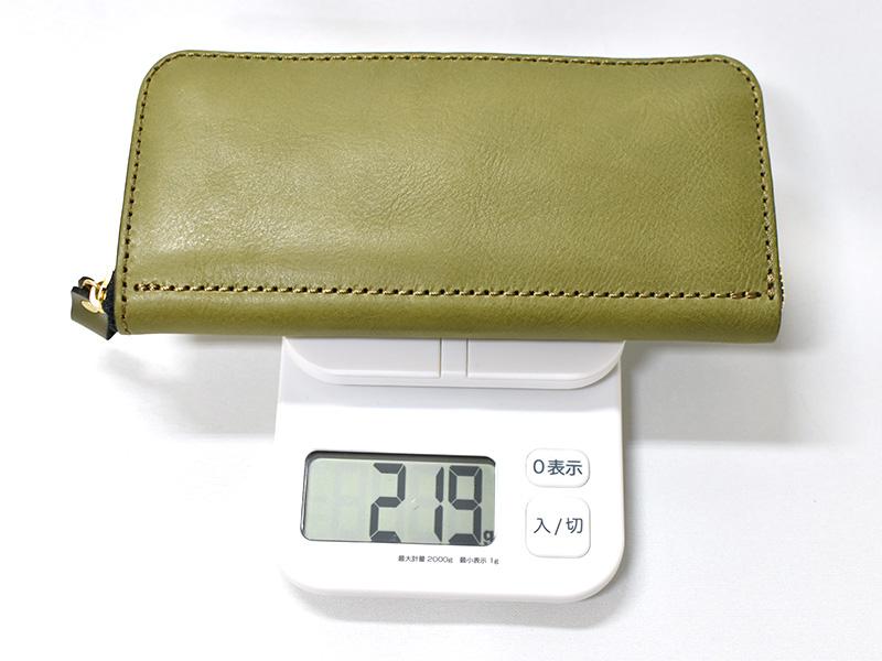 ファスナー長財布(WL-58)革色グリーンの重さ