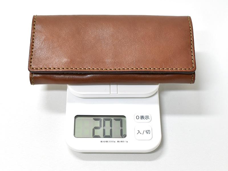ソフトレザーの長財布(WL-63)革色チョコの重さ