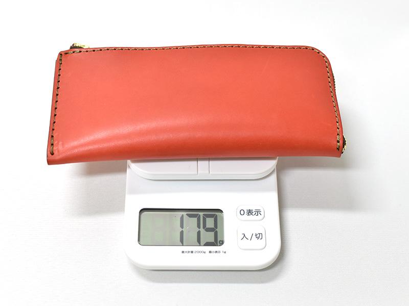 L字ファスナー長財布(WL-3)革色レッドの重さ