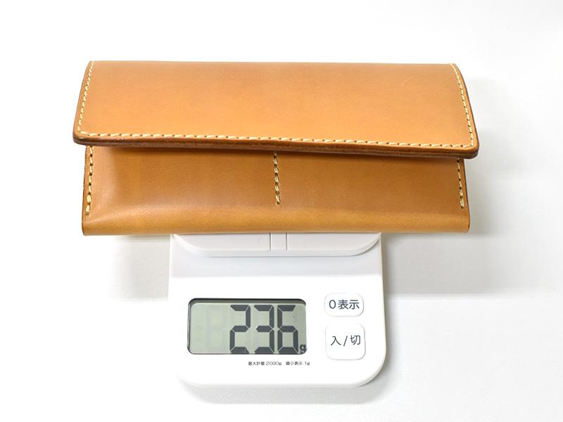 カード収納に強い長財布(WL-56)革色キャメルの重さ
