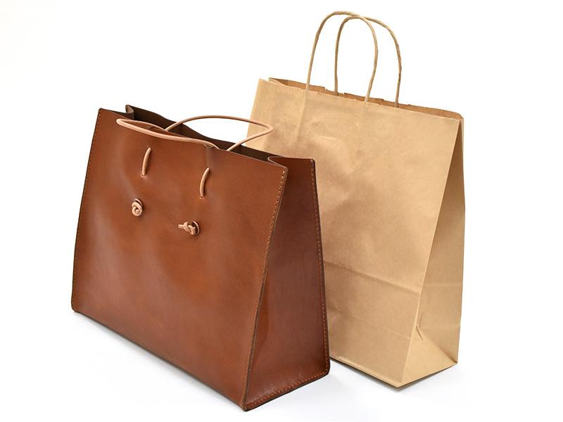 革紙袋(T-5)と一般的な紙袋の比較