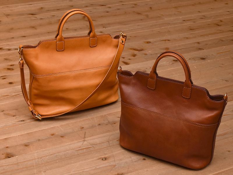 2wayトート(T-8)Mサイズ革色キャメルとLサイズ革色チョコ